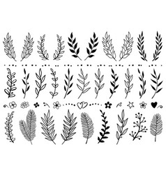set of hand draw tree branches and flowers vector image vector image