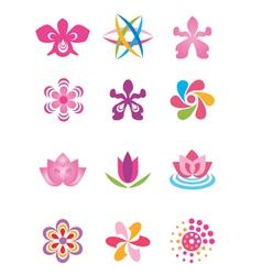 Symbols icons flowers vector image