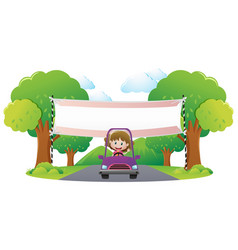 Banner template with girl driving purple car vector