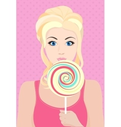 Beautiful blond model girl with big candy sweets vector image vector image