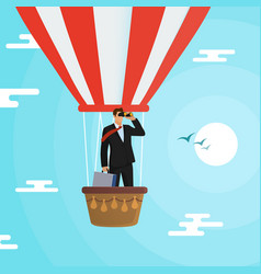 businessman flying in a hot air balloon in search vector image