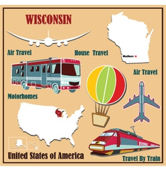 Flat map of Wisconsin vector image vector image
