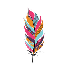 Large fluffy feather with patterns vector