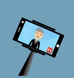 old businessman making a selfie vector image