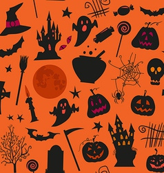 Seamless halloween pattern with castles candles vector image