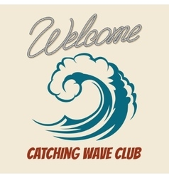 Surfing club emblem with killer wave vector image