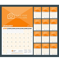 Wall calendar planner for 2016 year design print vector