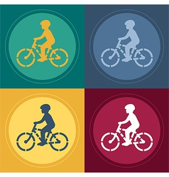Young Biker Stencil vector image vector image