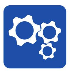 Blue white information sign - three cogwheel icon vector
