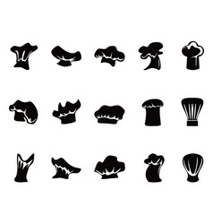 chef hats icon set vector image vector image