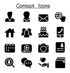 Contact icons set for social network vector