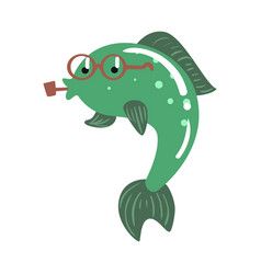 funny cartoon green fish in glasses smoking pipe vector image vector image