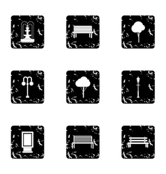 Garden things icons set grunge style vector image vector image
