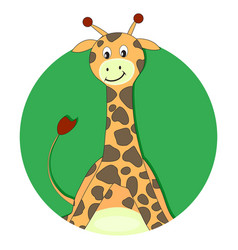 giraffe cartoon flat icon vector image vector image
