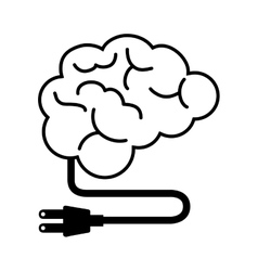 silhouette brain thinking idea isolated vector image