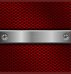 steel long plate with screws on red perforated vector image