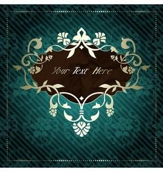 Elegant label in dark green vector image