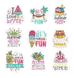 i love summer cute labels set relax summer time vector image vector image