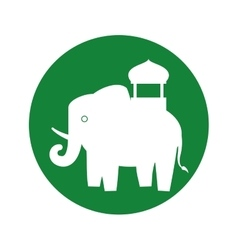 silhouette indian elephant festival green vector image