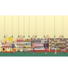 Supermarket interior in flat vector image vector image