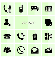 14 contact icons vector image