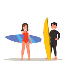 A man and a woman are surfing vector