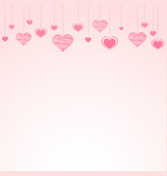 abstract background with falling paper hearts vector image