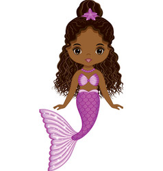 Beautiful black mermaid with purple fishtail vector