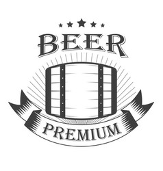 beer premium graphic logo with oak barrel vector image