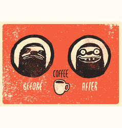 Before and after coffee vector