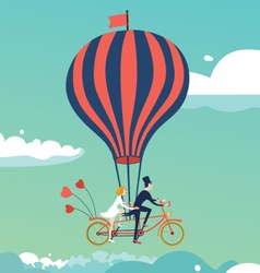 Bike above the clouds vector