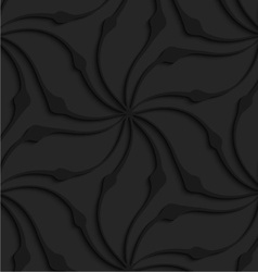 Black 3d abstract wavy floral shape vector