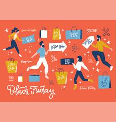 black friday sale event horizontal banner flat vector image