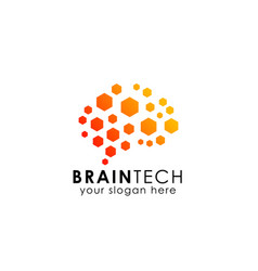 brain logo design in hexagon pattern brain icon vector image