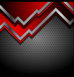 bright red and perforated metallic technology vector image