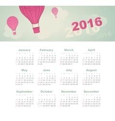 Calendar for 2016 Balloon sky cloud aerostat vector
