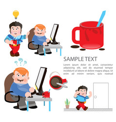 Cartoon characters in social sketches a man works vector