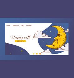 Cartoon moon landing page moonlight star vector