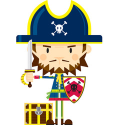 Cartoon pirate captain with sword and shield vector