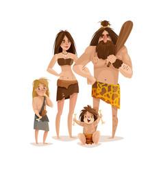 Caveman family design concept vector