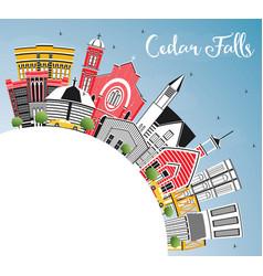 Cedar falls iowa skyline with color buildings vector