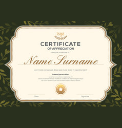 certificate template with vintage frame on dark vector image