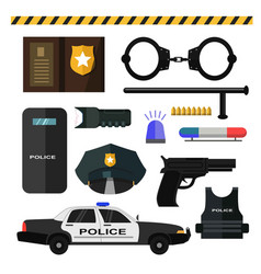Concept of police equipment isolated on white vector