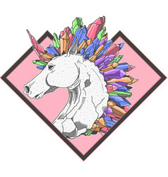 cool unicorn colorful crystal vector image