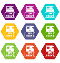 Copy and print icons set 9 vector