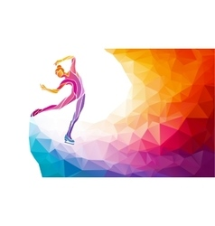 Creative silhouette of ice skating girl vector