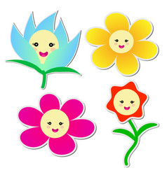 Cute flowers sticker on white background vector