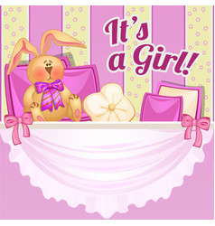cute poster with a soft toy and pillows in the vector image