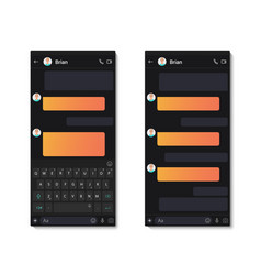 dark chat app template whit mobile keyboard vector image
