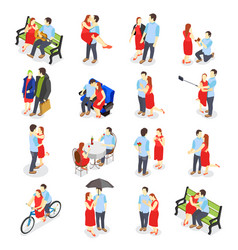 Dating isometric icons vector